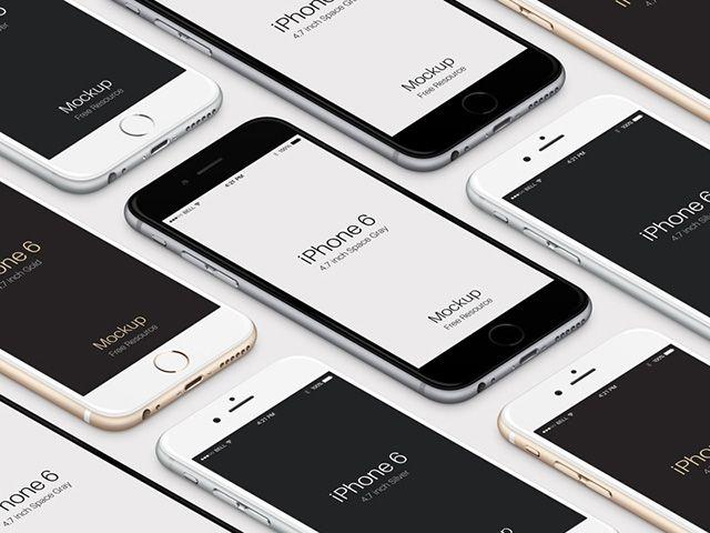 Download Iphone 6 Isometric Mockups Freebiesbug Iphone Mockup Web Design Freebies Iphone