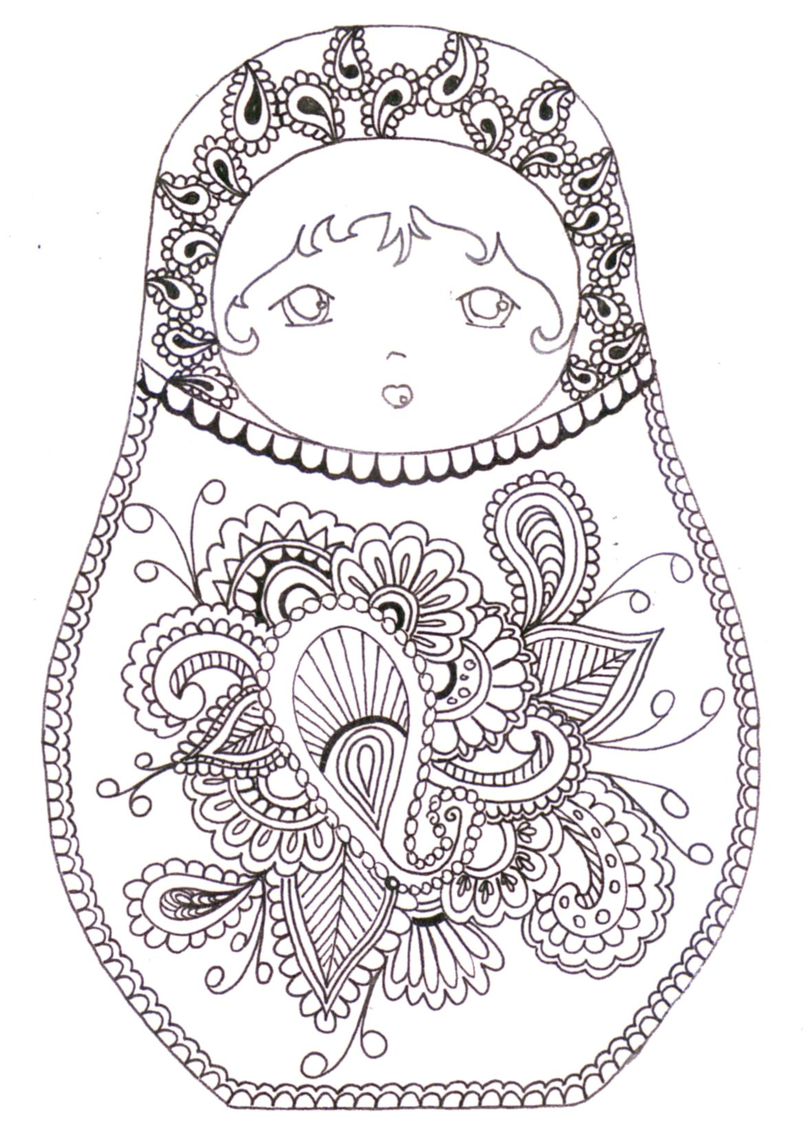 Matryoshka coloriage Cool Coloring Pages Pinterest Coloring