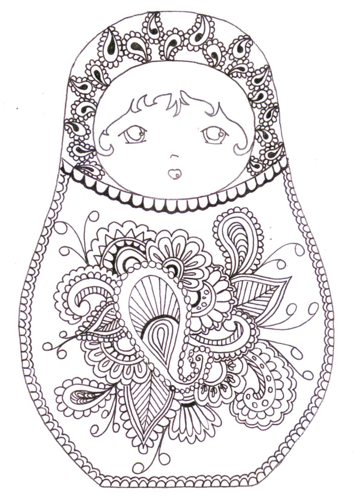 Matryoshka Coloriage Abstract Doodle Zentangle Paisley Coloring