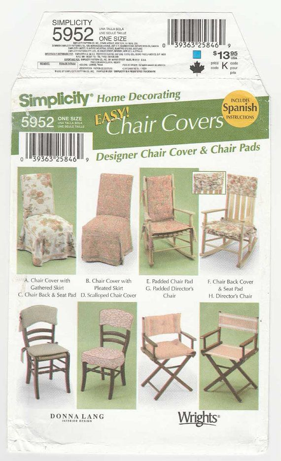 Simplicity 5952 Easy Chair Covers Sewing Pattern Designed By Donna Lang  Include: A: Chair