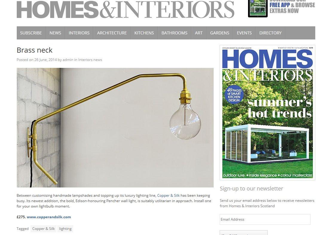 Homes  interiors scotland brass neck pencher wall light also as rh fi pinterest