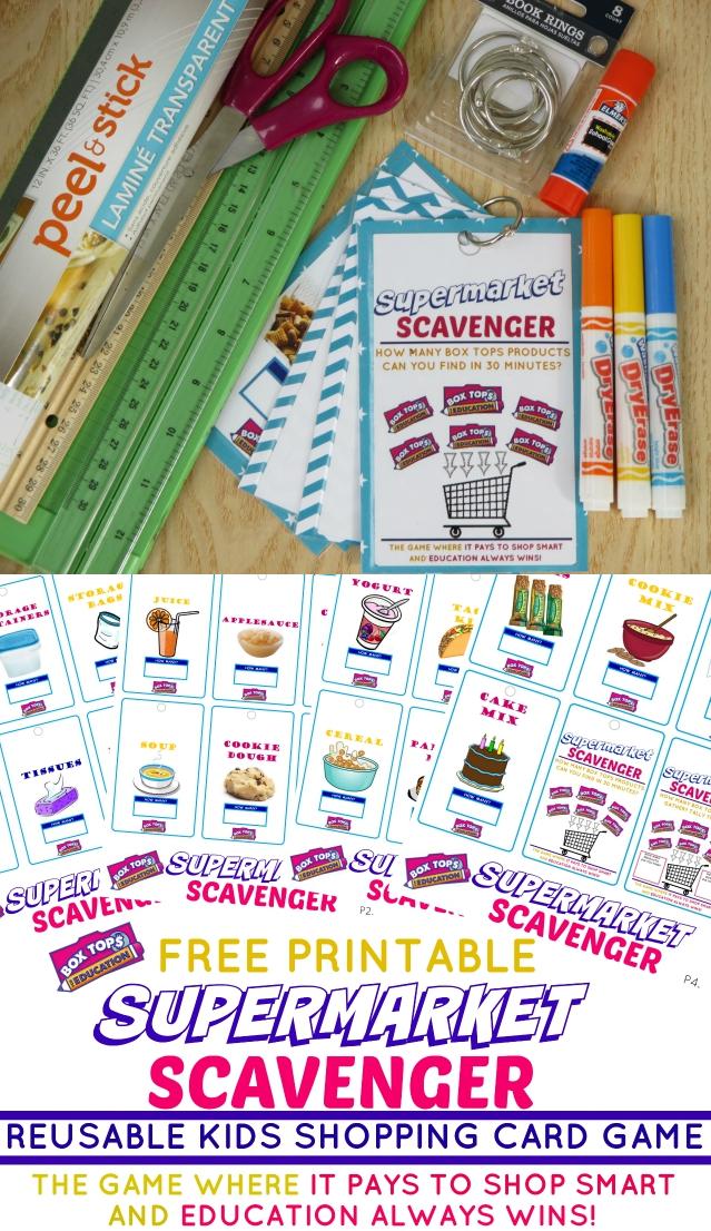 Supermarket Scavenger Kids Shopping Card Game + Free