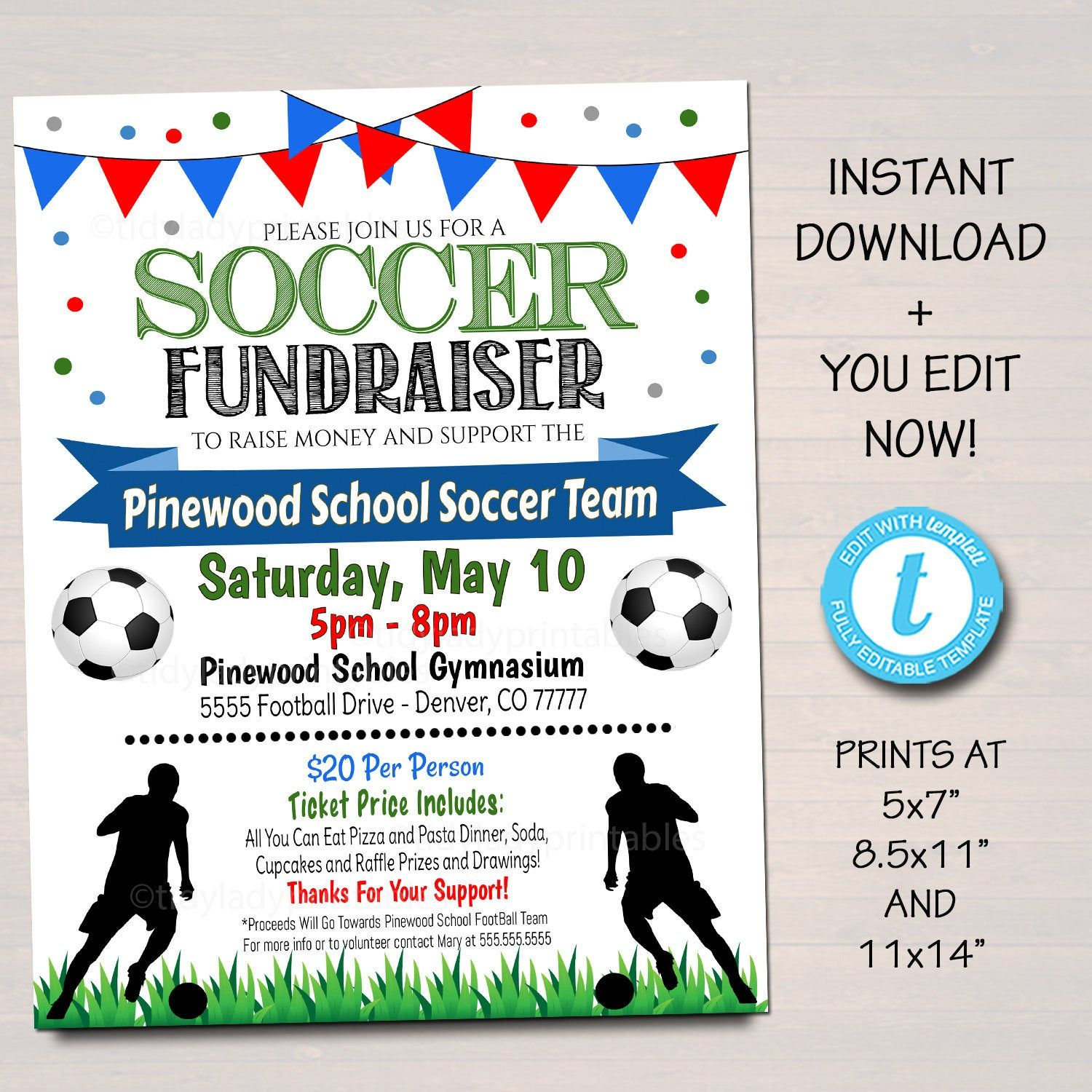 Editable Soccer Fundraiser Flyer Printable Pta Pto Flyer School Benefit Fundraiser Event Poster Digital Soccer Banquet Party Invitation In 2020 Soccer Fundraisers Fundraiser Flyer Team Fundraiser
