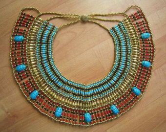 Amazing Egyptian Handmade Belly Dance Costume of Ancient CLEOPATRA Beaded Necklace Collar.....Halloween & Amazing Egyptian Hand Made crafted Beaded Queen Cleopatra Necklace ...