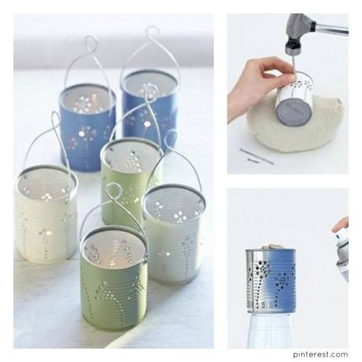 Save your cans, add a light or a candle and decorate :)