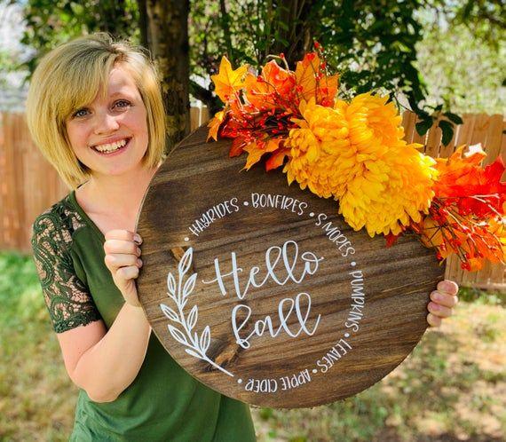 Door Decoration, Hello Fall, Door Hanger, Front Door Decor, Door Wreath, Housewarming Gift, Home Decor, Wood Round Sign #hellofall