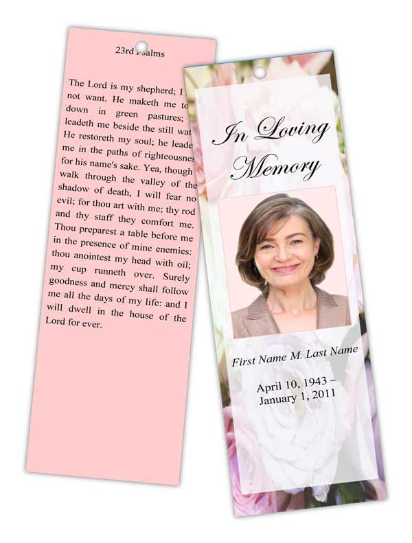 Pastel Memories Memorial Bookmark Template Top Memorial Bookmark - death announcement templates