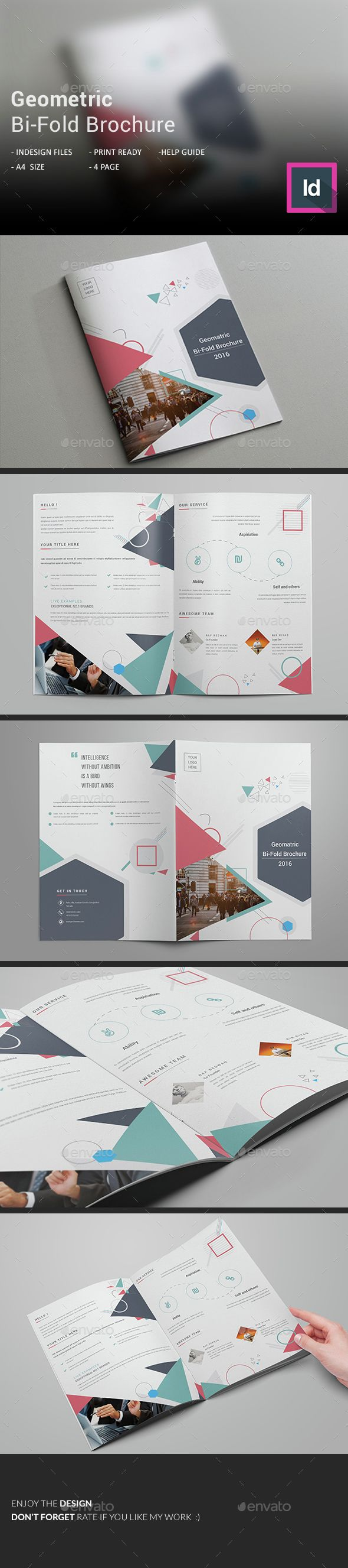 Geometric BiFold Brochure Brochure Template Brochures And Template - Bi fold brochure template indesign
