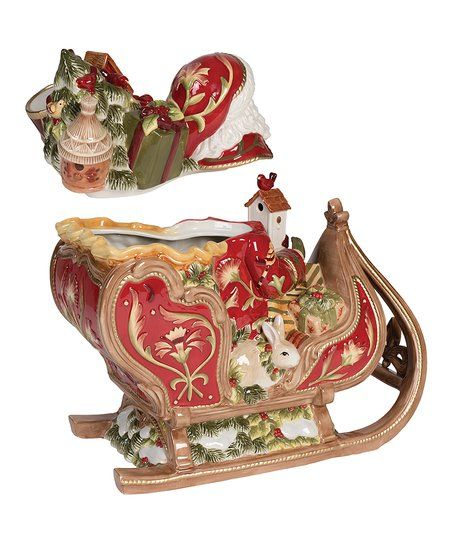 Fitz and Floyd Damask Holiday Sleigh Cookie Jar zulily Christmas