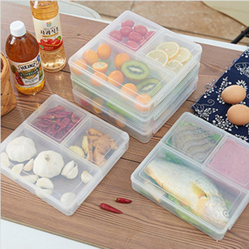 3 Grid Transparent Lunch Boxs Portable Big Food Container bento fruit Snack Bento Microwave Lunchbox D6