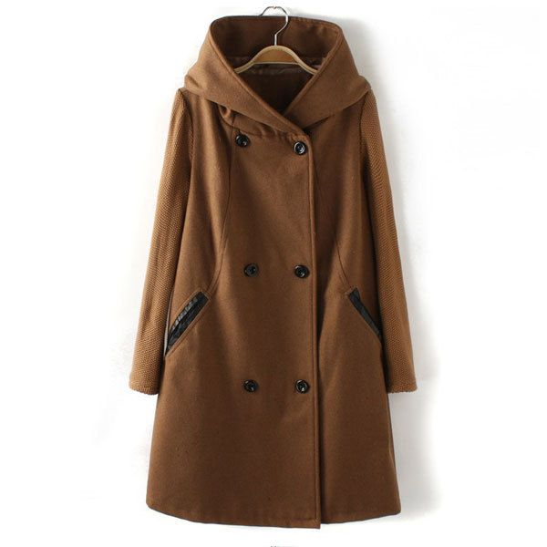 Price:$54.99 Material: Wool Color: Black / Mocha Splicing Knitted Sleeves Double Breast Hooded Collar Coat Overcoat