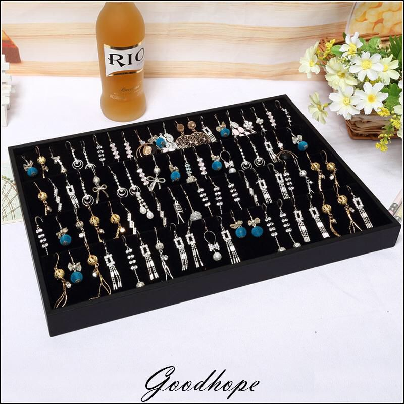 Portable Earring Display Organizer Black Velvet Showing Tray Earrings Holder Storage Bo Jewelry Showcase Boucles