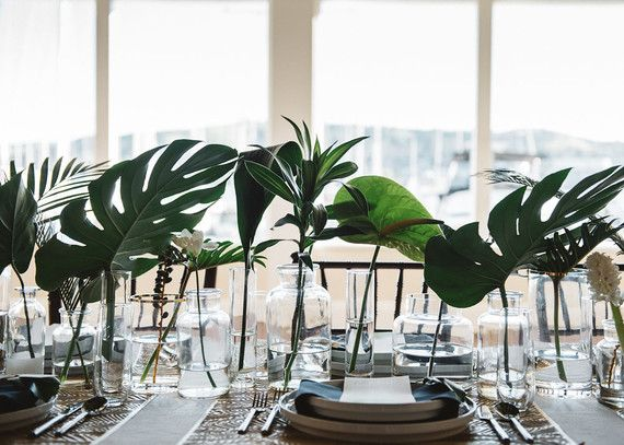 Monstera leaf centerpiece party pinterest