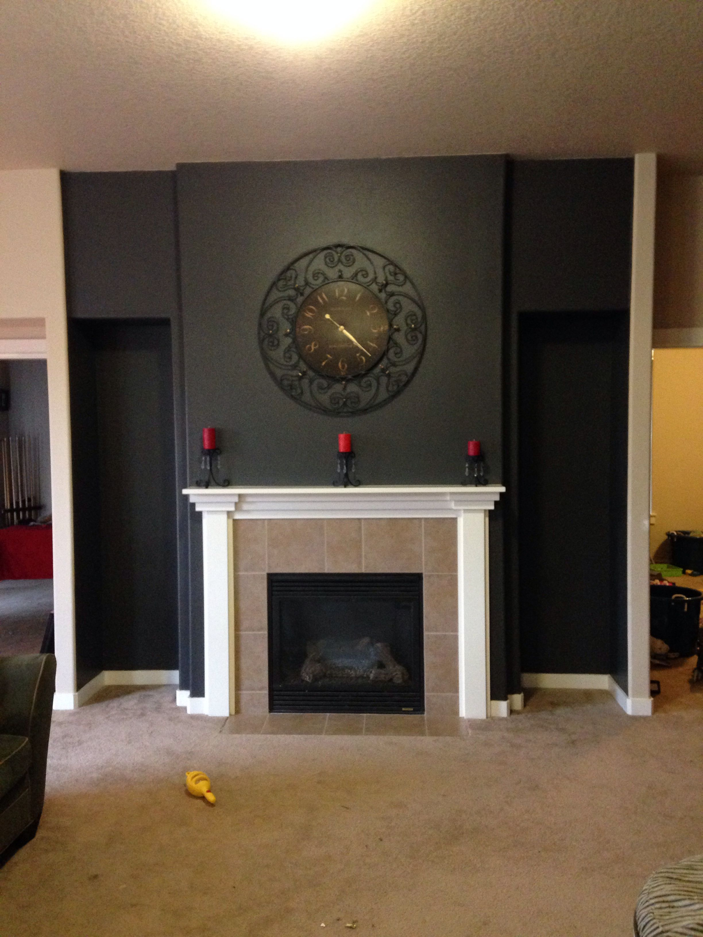 Slate Grey Living Room Grey Slate Color Wall Accenting Fireplace Pin Successes