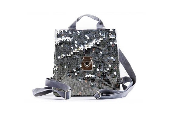 b810689aba07 Glitter Sparkly Backpack, Small Backpack, Holographic Silver Sequin ...