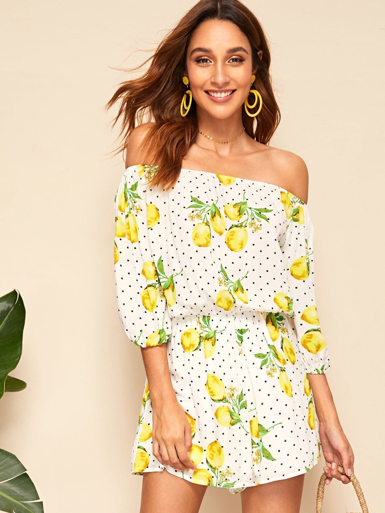 93258ea80d Lemon And Dot Lantern Sleeve Off Shoulder Romper - Popviva #summer #year  #fall