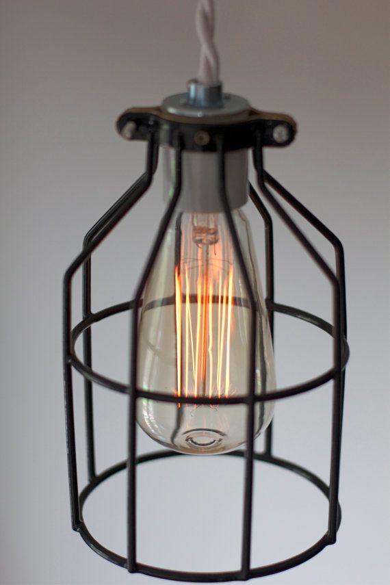 Industrial Wire Bird Cage Light Fixture - Rustic Pendant Lighting ...