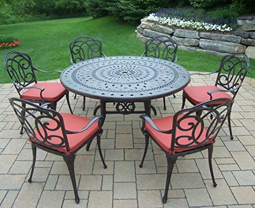 Oakland Living Berkley 7piece Set With 54inch Round Table And 6 Cushioned Chairs Amazon Best Buy P Oakland Living Outdoor Dining Set Patio Dining Set
