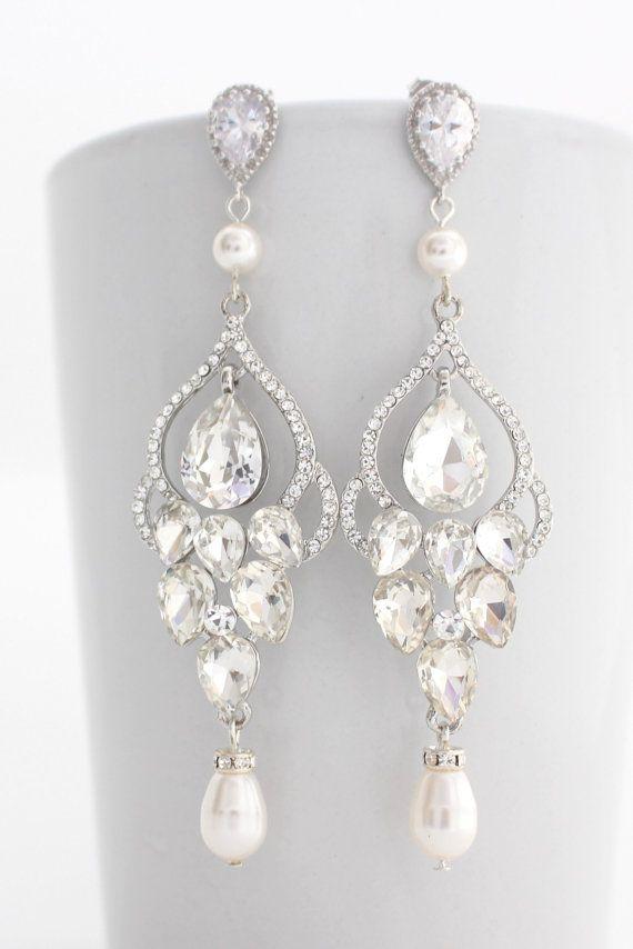 Black Friday Sale Long Bridal Chandelier Earrings By Estylojewelry