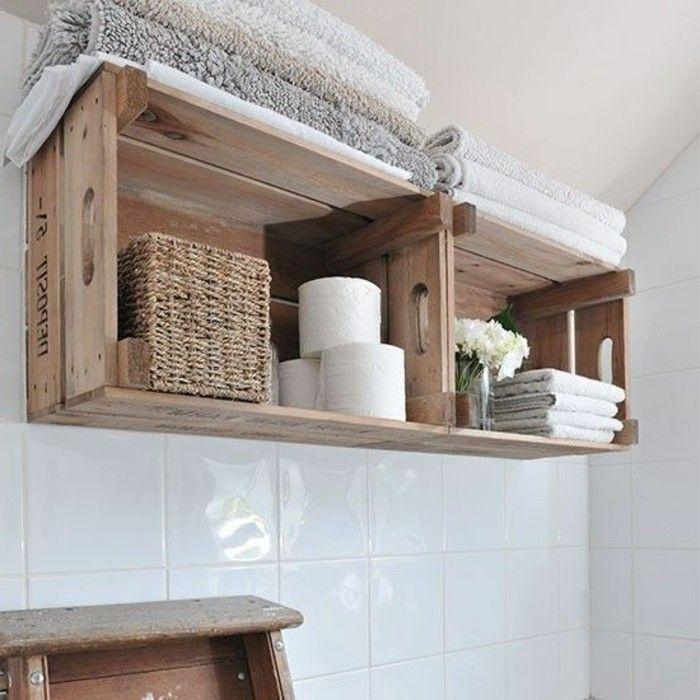 Etagere En Palette De Bois Une Bouffee D Inspiration Rustique Rustic Bathroom Designs Rustic Small Bathroom Ideas Diy Bathroom Storage
