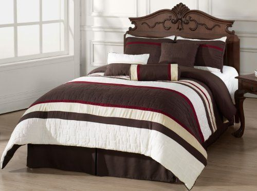 Mosaico 7 Piece Quilted Comforter Set Burgundy Brown Ivory