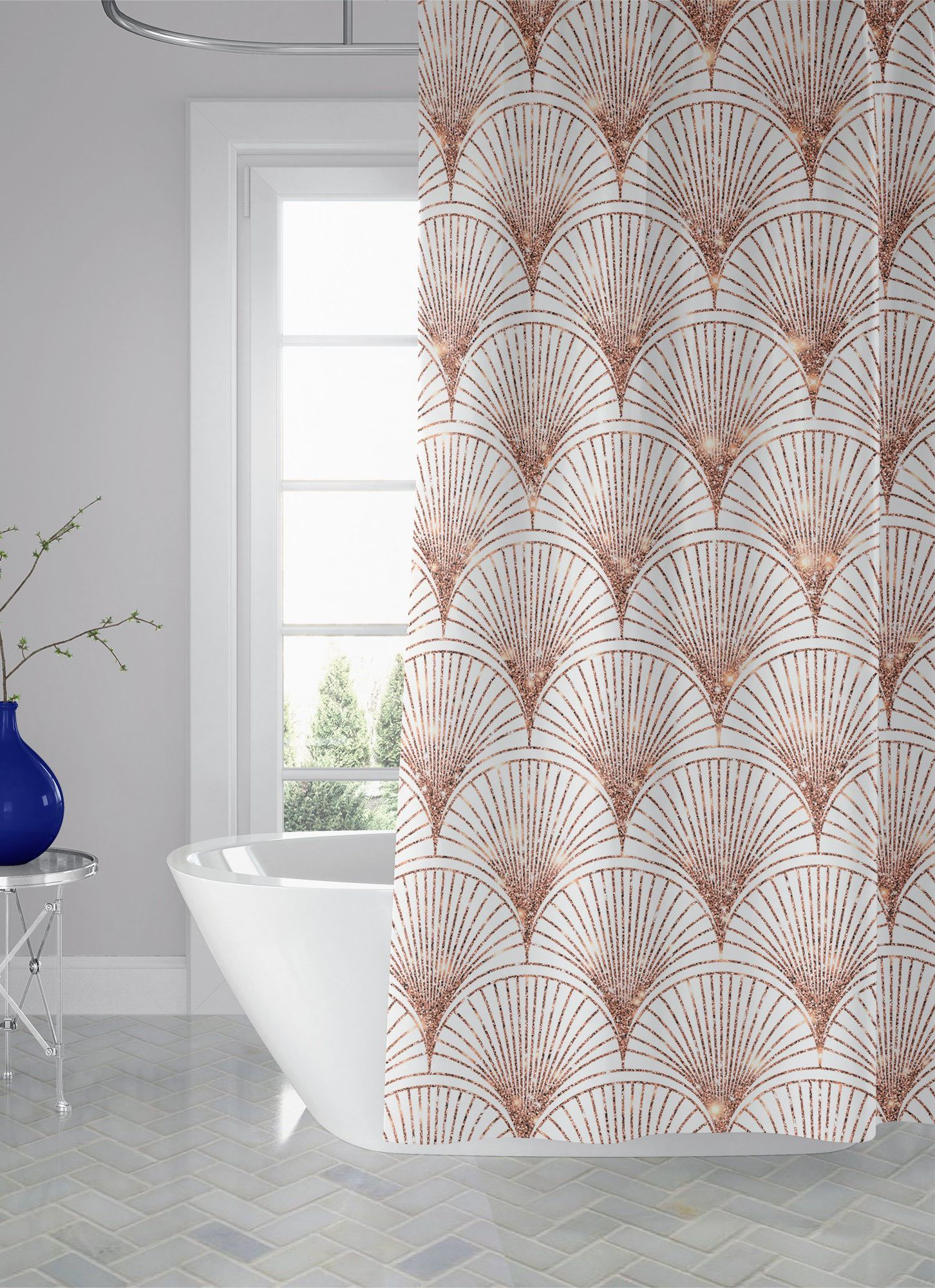 Rose Gold Art Deco Custom Fabric Shower Curtain Fan Pattern Bath