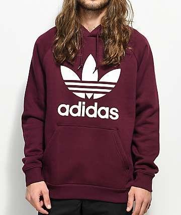 adidas Trefoil Maroon Hoodie | Sweatshirts, Stylish hoodies