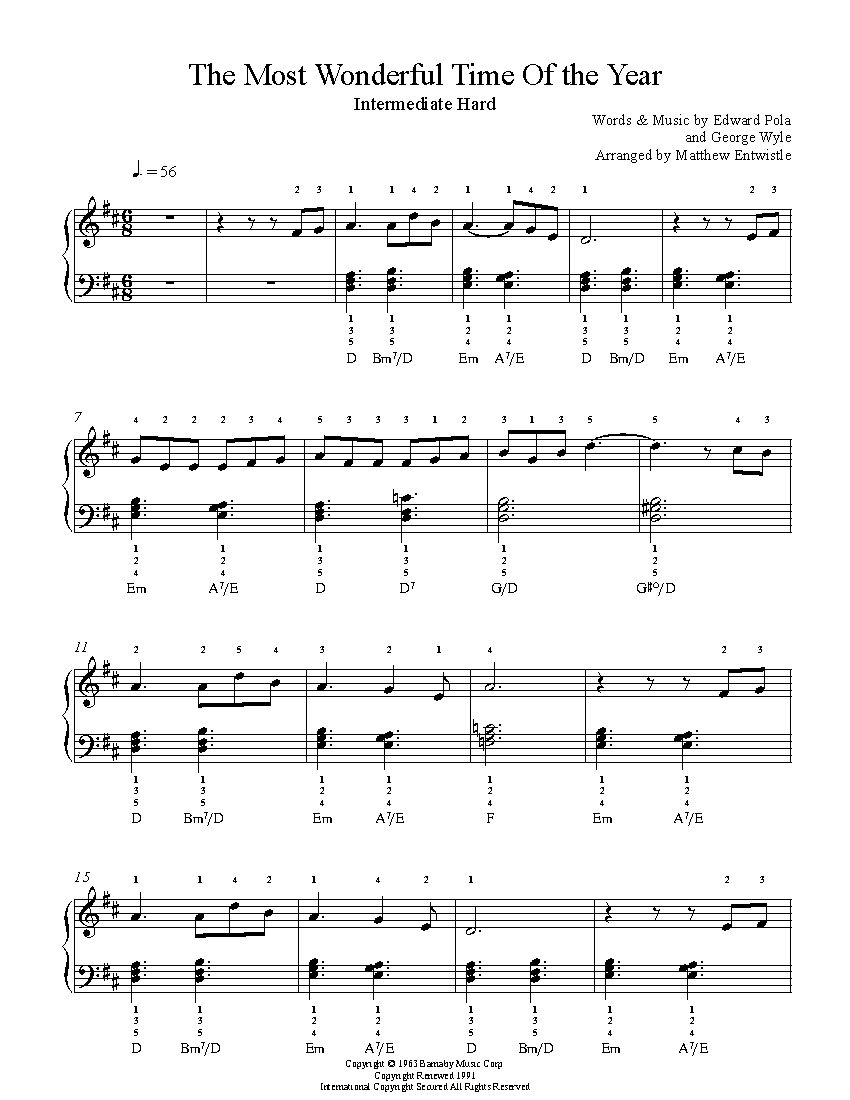 the most wonderful time of the year by andy williams piano sheet music intermediate level. Black Bedroom Furniture Sets. Home Design Ideas