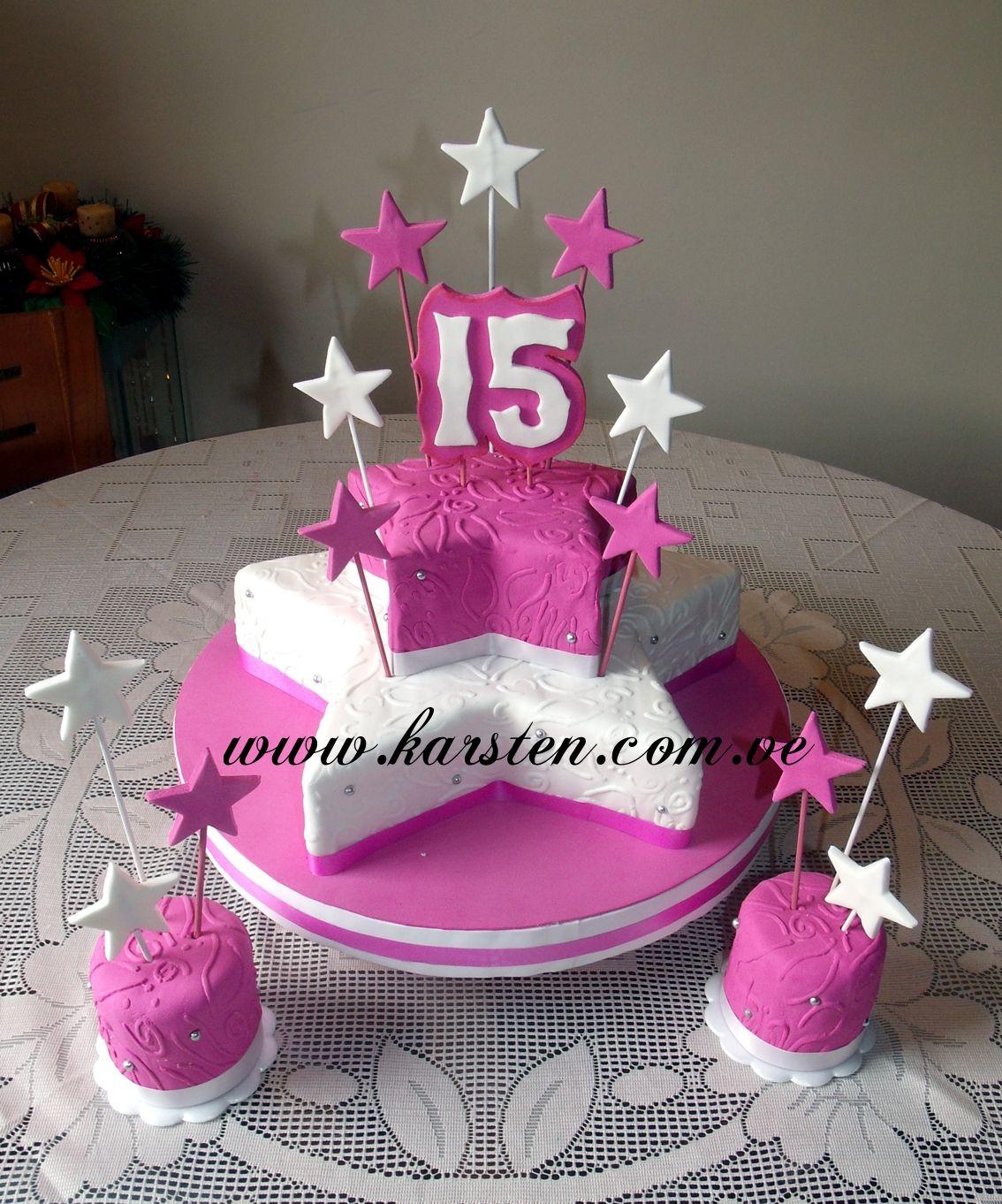 Torta de 15años en forma de estrella en color Blanco y Fucsia ...