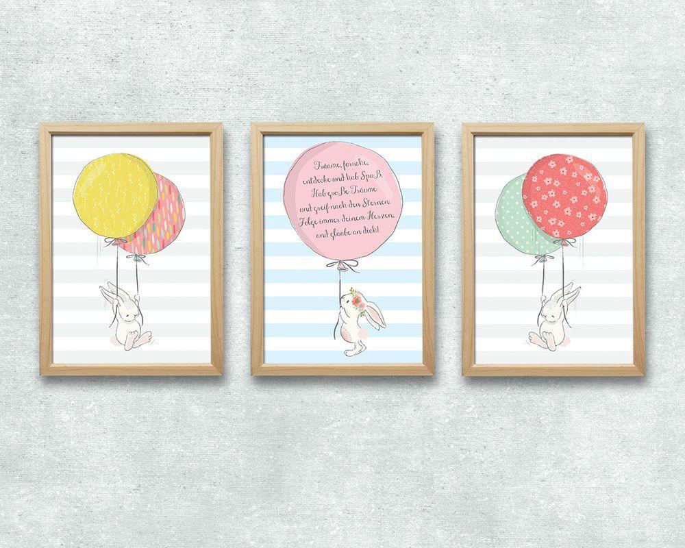 Details zu Bild Set Hase Ballon Spruch Kunstdruck A4 Kinderzimmer ...