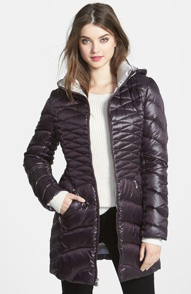 Laundry By Shelli Segal Down Feather Walking Coat With Removable