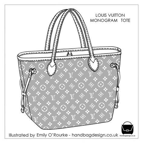 LOUIS VUITTON - MONOGRAM TOTE BAG - Designer Handbag Illustration   Sketch    Drawing   CAD   Borsa Disegno de36b2a7a65