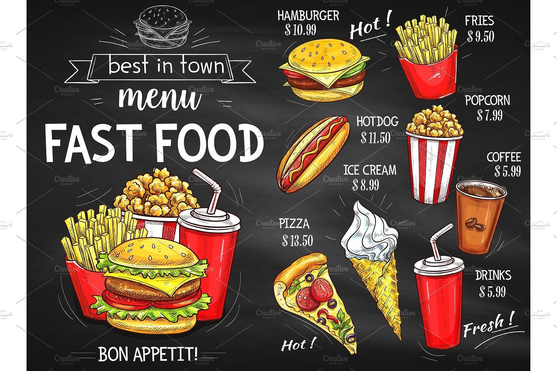 Fast Food Restaurant Menu Chalkboard Design Fast Food Restaurant Fast Food Menu Food