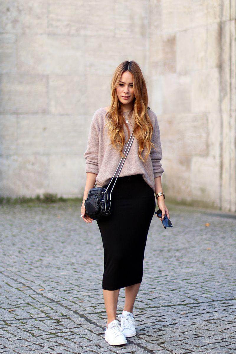 Women's Pink Oversized Sweater, Black Midi Skirt,