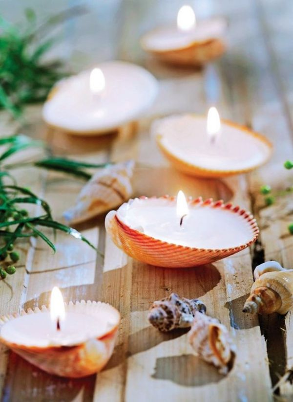 40 Cute And Easy Seashell Craft And Decor Ideas #candles