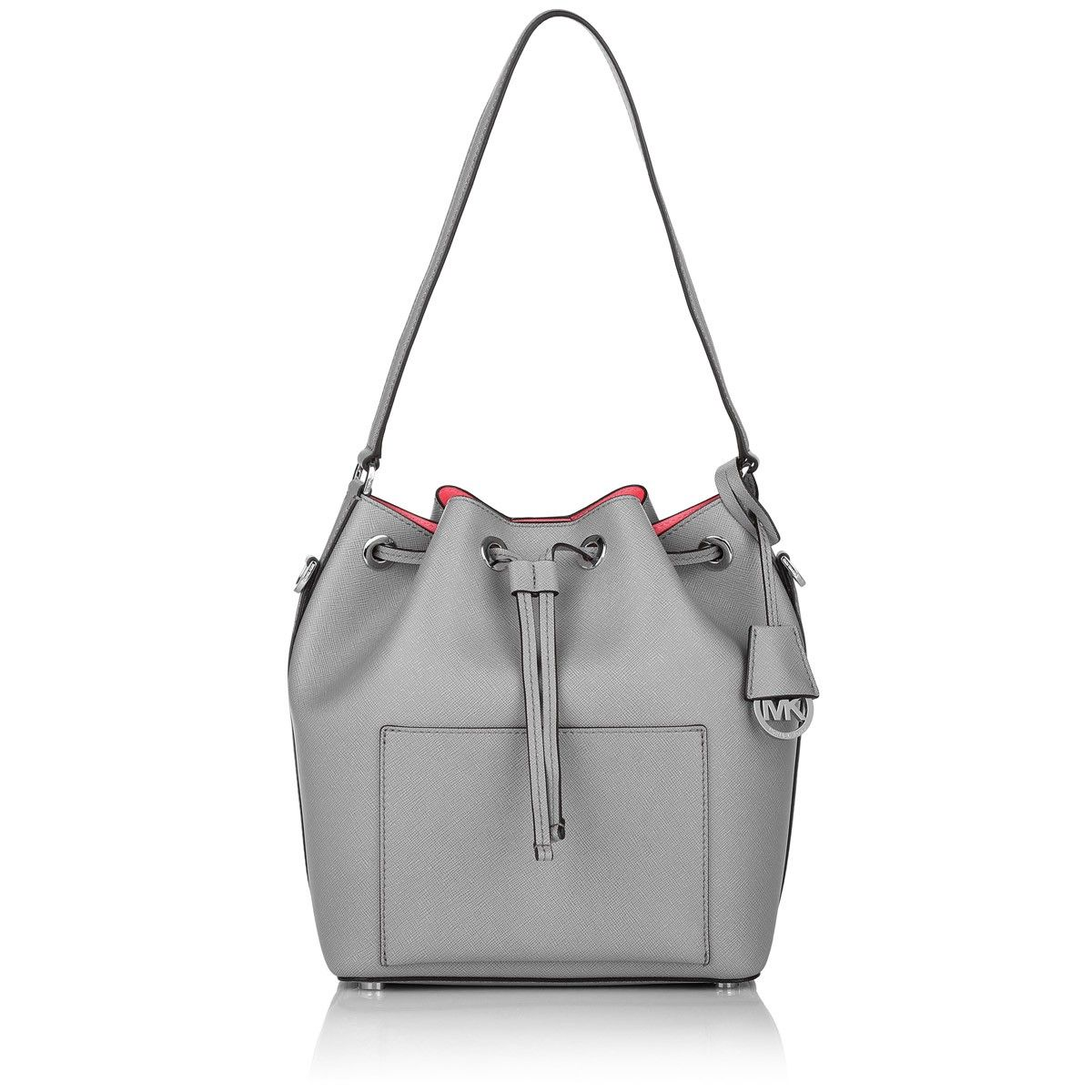 f8154d715f7da4 MICHAEL Michael Kors Greenwich Small Saffiano Leather Bucket Bag Grey
