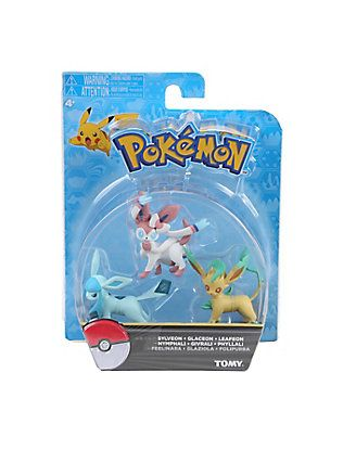 Sylveon Exclusive Figure Set Includes Official Packaged Pokemon Eevee Eeveelutions 3 Pcs Glaceon /& Leafeon by Tomy