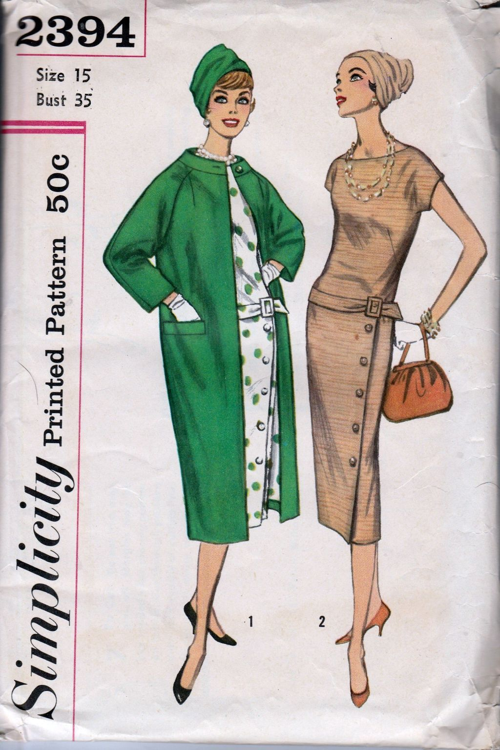 simplicity 2394 vintage 1950\'s sewing pattern junior dress coat ...