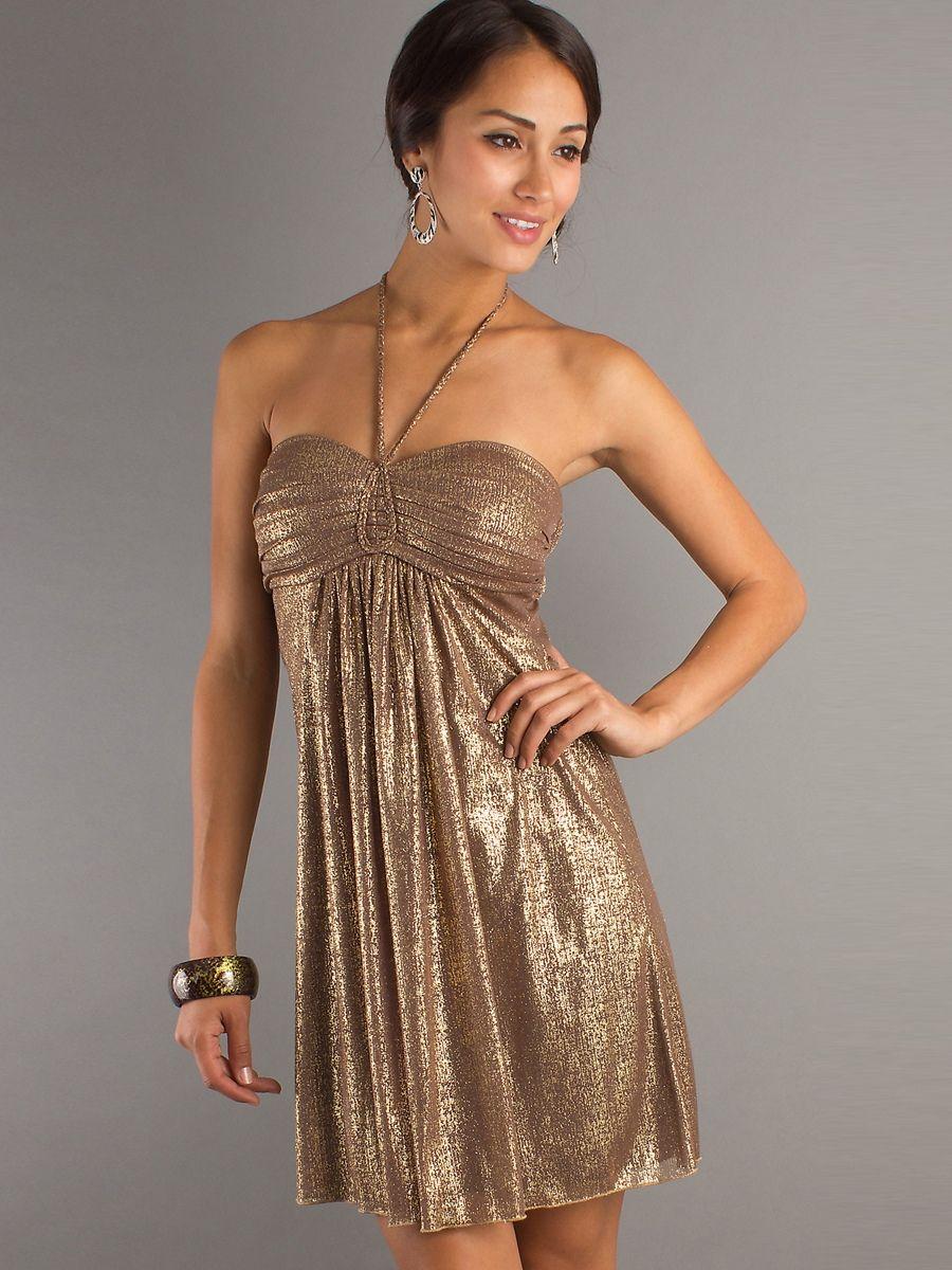 Gold sequined shimmer halter sweetheart neckline sleeveless short