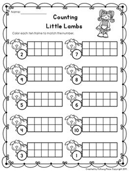 Nursery Rhymes Ten Frame Page Free