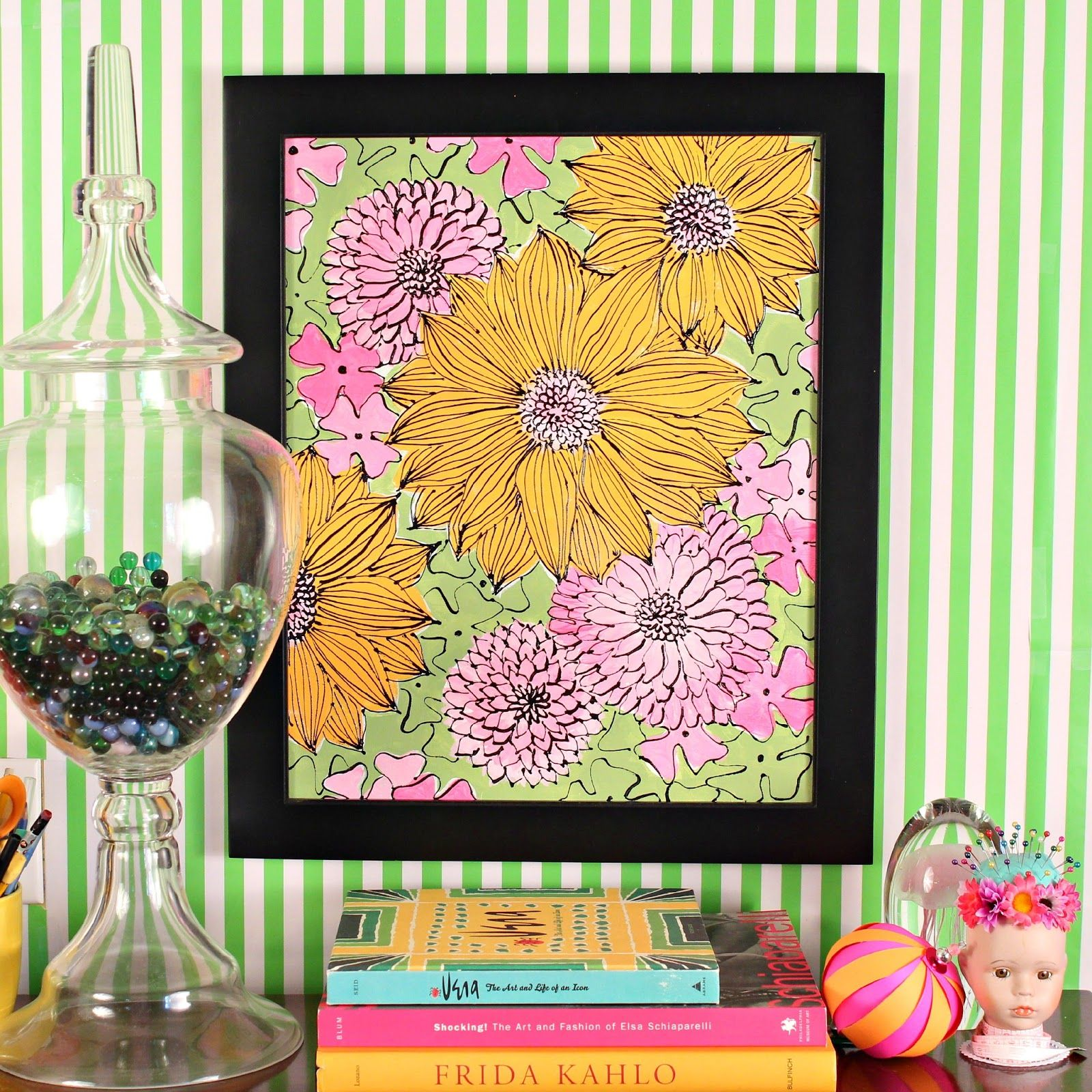 Paint colorful vintage flowers inspired by the artist Vera Neumann ...