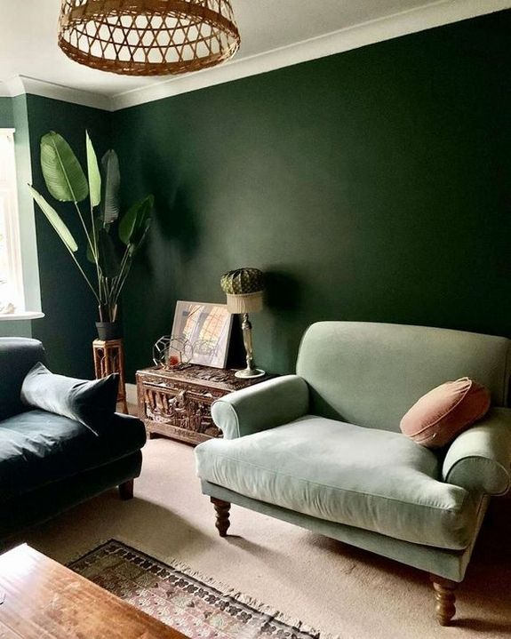 32 Stylish Green Wall Paint For Your Living Room Ideas In 2020 Green Walls Living Room Green Dining Room Green Couch Living Room