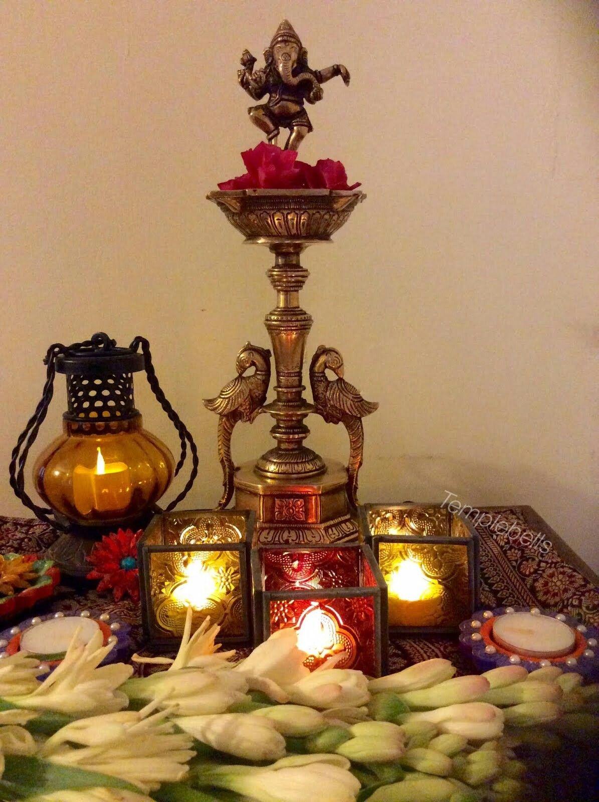 Pin by Sush Basu ~♥~ on Festive Decor   Pinterest for Lighting Lamps In Pooja Room  34eri