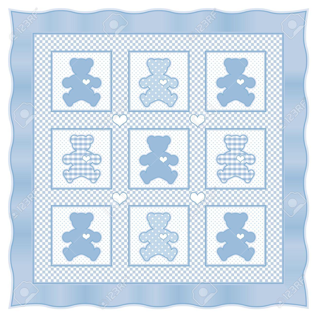 Teddy Bear Baby Quilt Vintage Pattern, Blue Pastel Gingham, Polka ... : blue baby quilt - Adamdwight.com