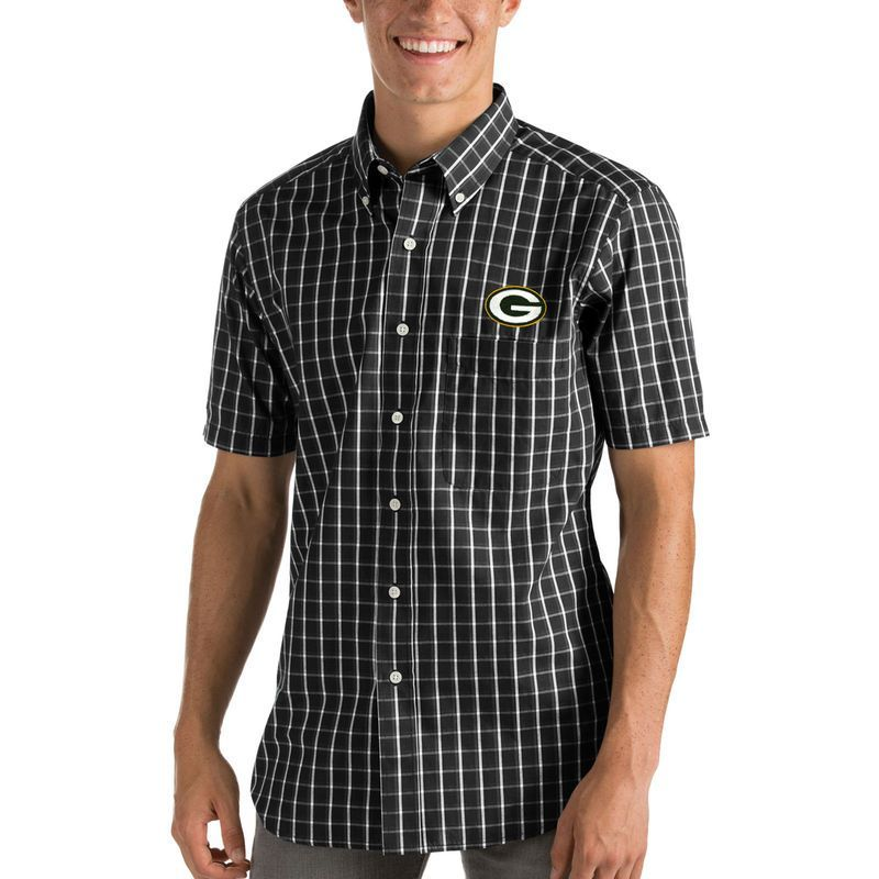 Green Bay Packers Antigua Endorse Woven Short Sleeve Button-Down Shirt - Black/White