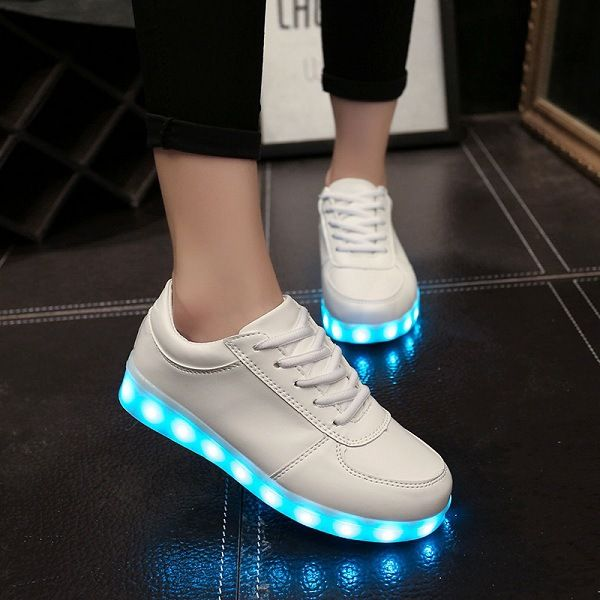 chaussure blanche lumineuse led | Casual shoes women
