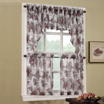 No918 Wine Country Swag Tier Kitchen Curtains