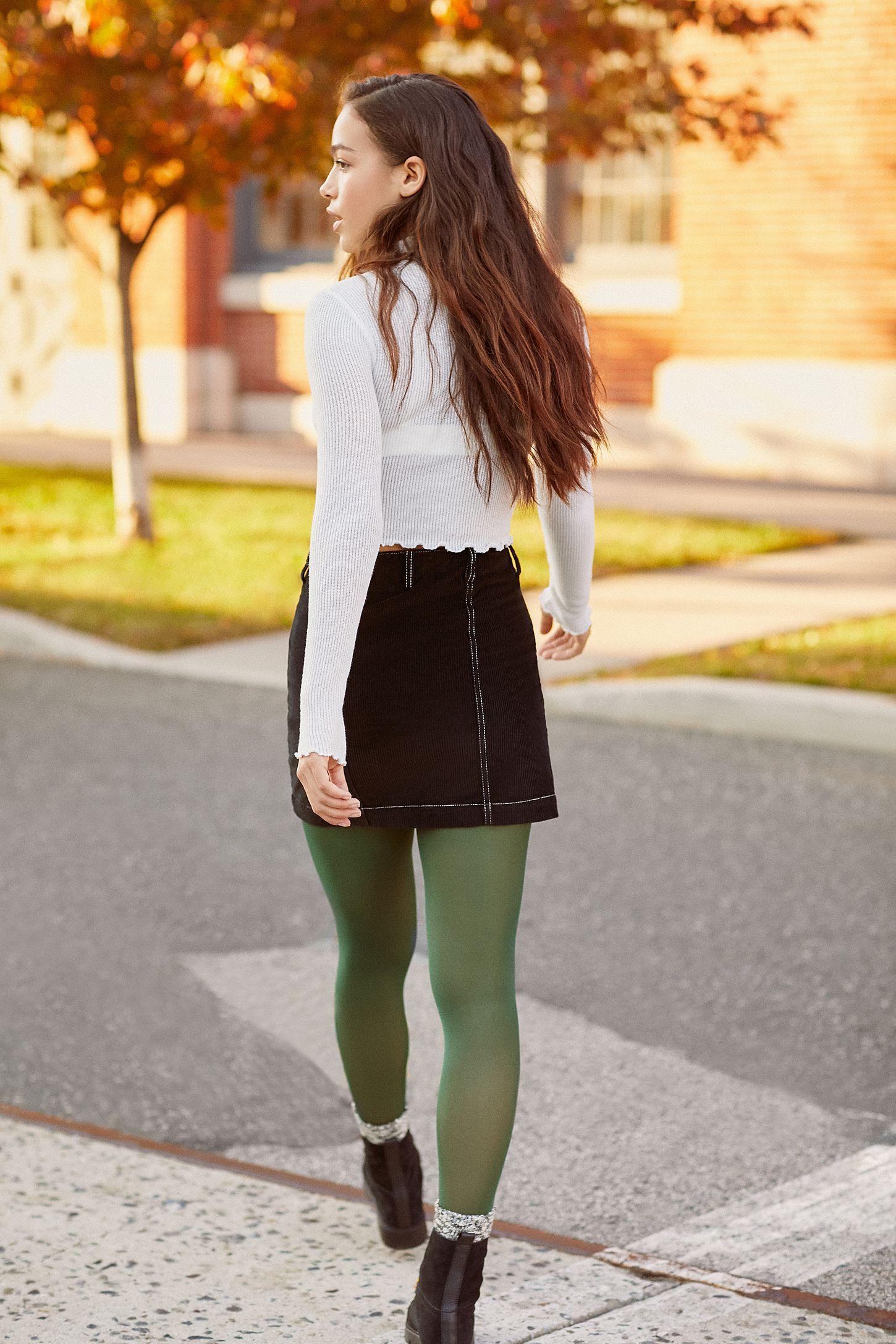 Bdg Avery Corduroy Button Front Mini Skirt Mini Skirts Green