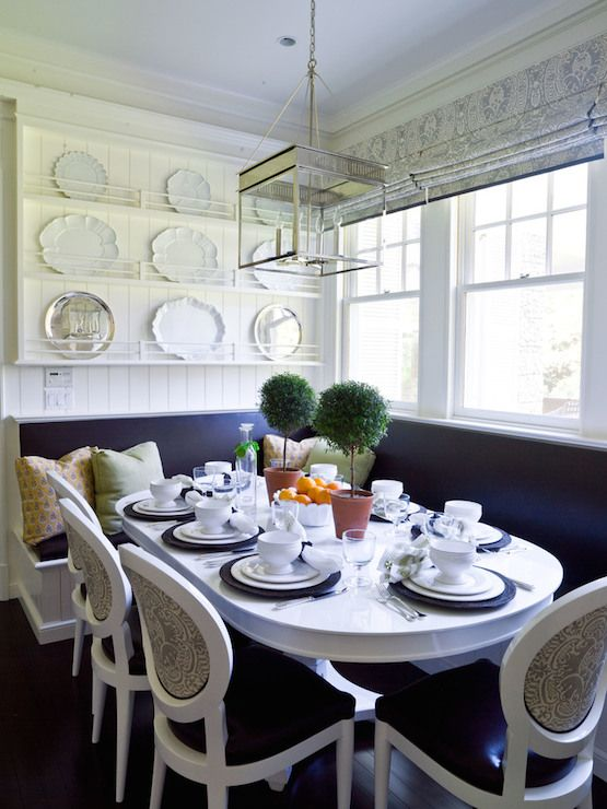 Another Banquette With A Slimmer Table And Upholstered Built In Benches. Gallery
