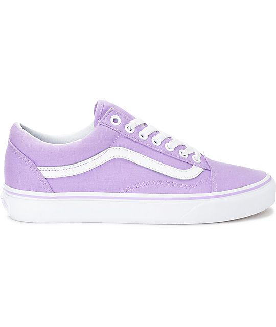 Pastel Purple Vans Old Skool: Vans Old Skool Lavender & White Canvas Shoes